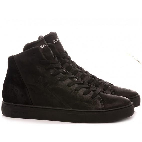 Crime London Men's Sneakers High Top Minimal Black