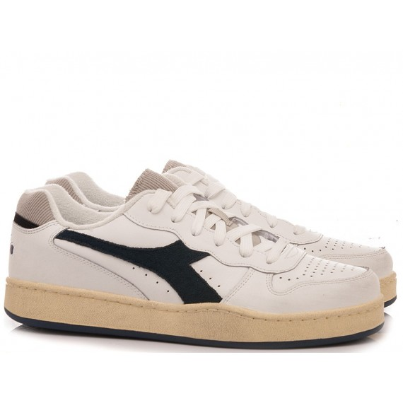 Diadora Men's Sneakers MI Basket Low Used White-Blue