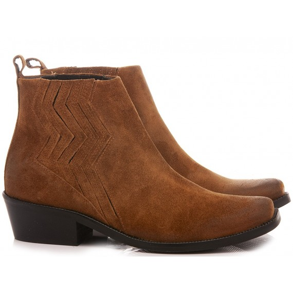 Janet & Janet Women's Western Ankle Boots Suede Tan 46100