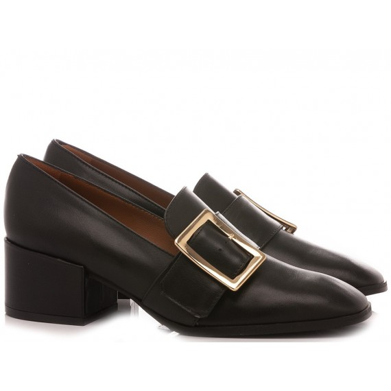 Mivida Women's Shoes Loafers Leather Black 5002
