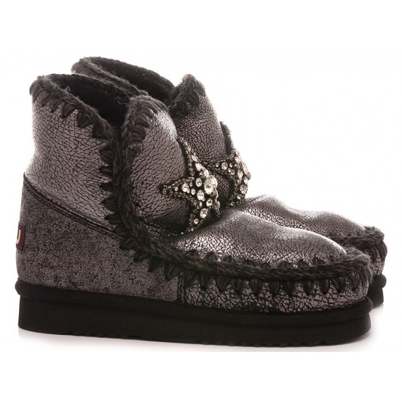 MOU Women's Ankle Boots Eskimo 18 Front Star Patch Black