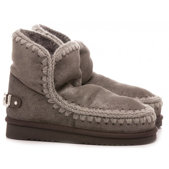 MOU Women's Ankle Boots Eskimo 18 With Rhinestones Logo Grey