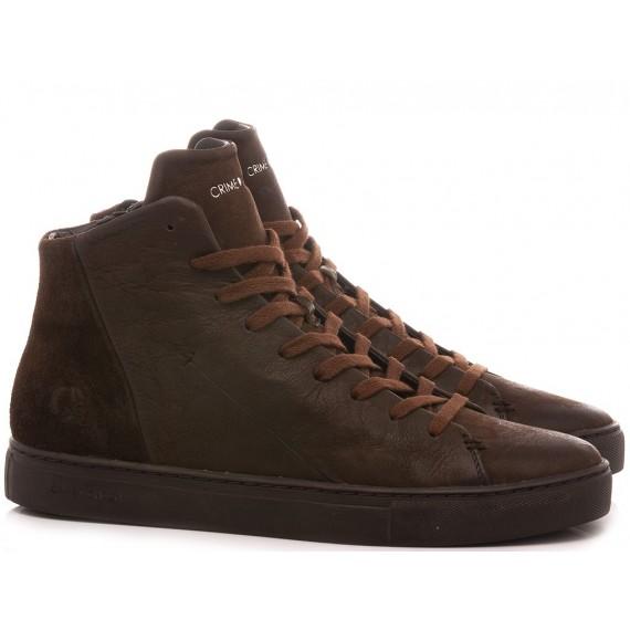 Crime London Men's Sneakers High Top Minimal Brown