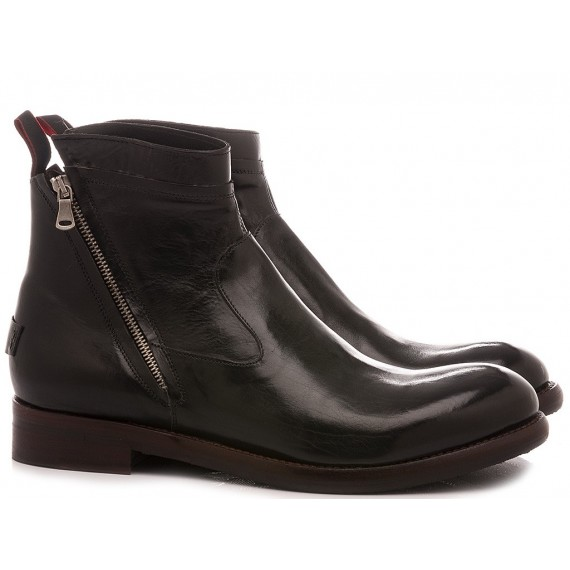 JP David Men's Ankle Boots Leather Black 36605/1