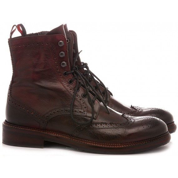 JP David Men's Ankle Boots Leather Bordeaux 37340/1