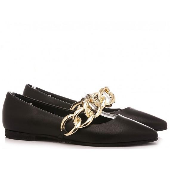 Giacko Women's Ballerina Shoes Rocha Leather Black
