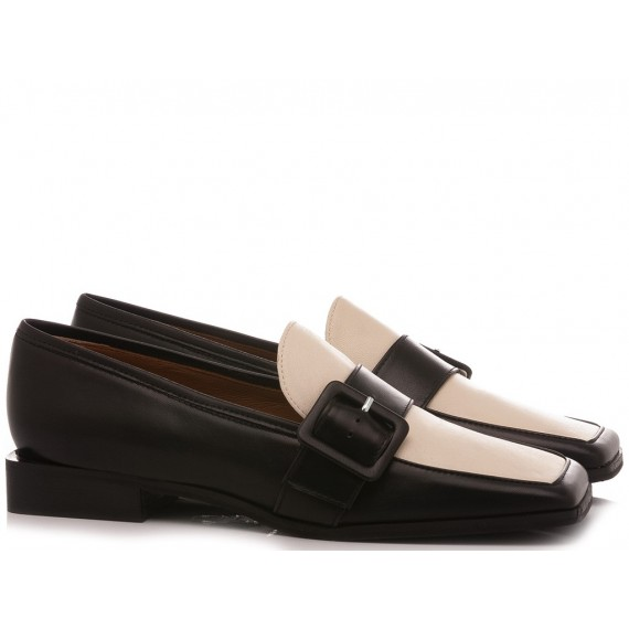 Mivida Women's Shoes Loafers Leather Black 5902R
