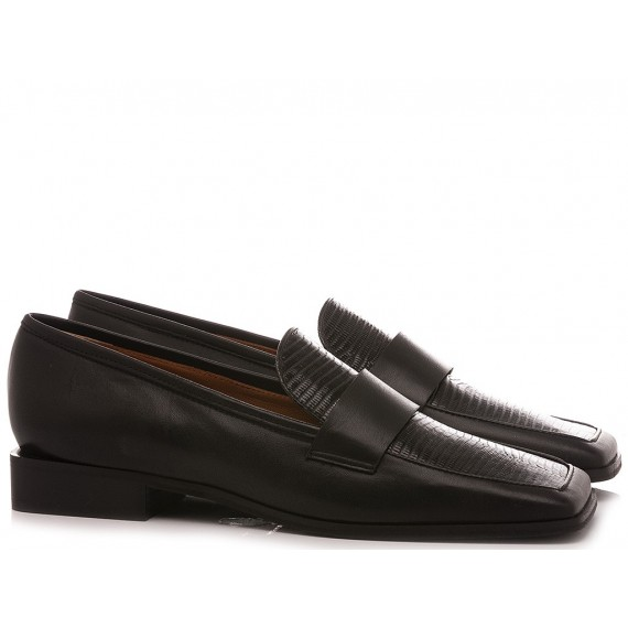 Mivida Women's Shoes Loafers Leather Black 5904R