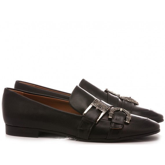 Mivida Women's Shoes Loafers Leather Black 4406