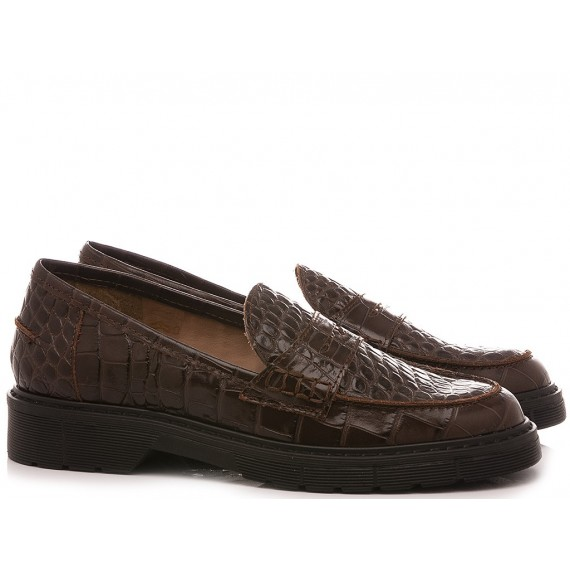 Kammi Women's Shoes Loafers 3701 Leather Coffee
