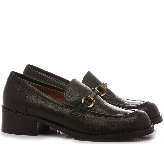 Les Venues Women's Loafers Leather Black 1211M