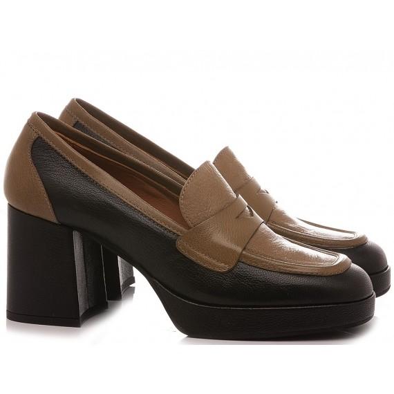 Les Venues Women's Loafers Leather Black 1800M