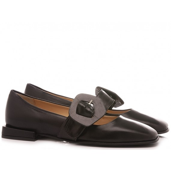 L'Arianna Women's Ballerina Shoes Leather Black BL1308Q