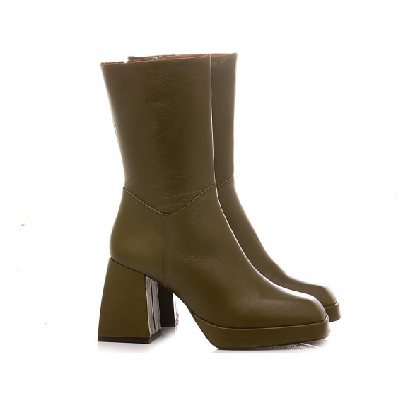 Angel Alarcon Women's Ankle Boots Leather Green 20583-871A