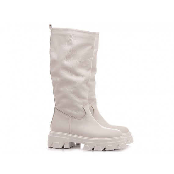 Giacko Women's Boots Leather White 1987 Combat Boot