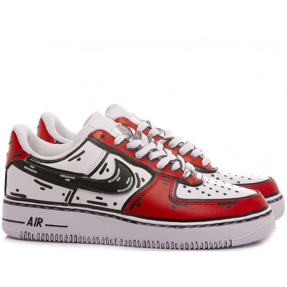 Nike Sneakers Donna Air Force 1 '07 Personalizzate Bianco-Rosso