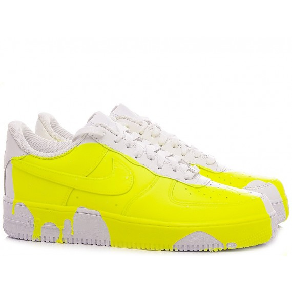 Nike Sneakers Donna Air Force 1 '07 Personalizzate Bianco-Giallo Fluo