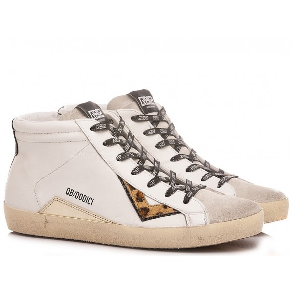 QuattroBarraDodici QB12 Women's Sneakers MID-D101 Leather White