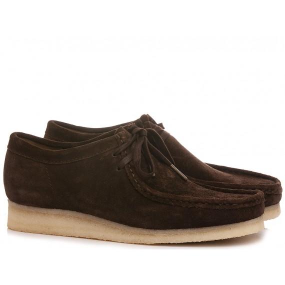 Clarks Man's Shoes Wallabee Dark Brown Suede
