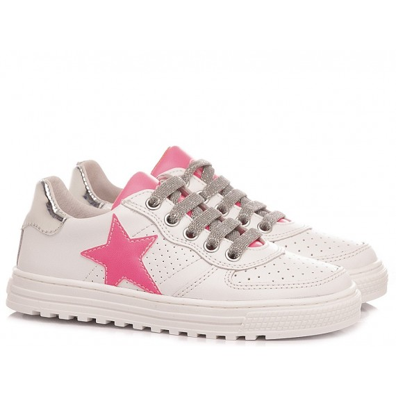 Naturino Girl's Shoes Sneakers Leather White-Pink Fluo