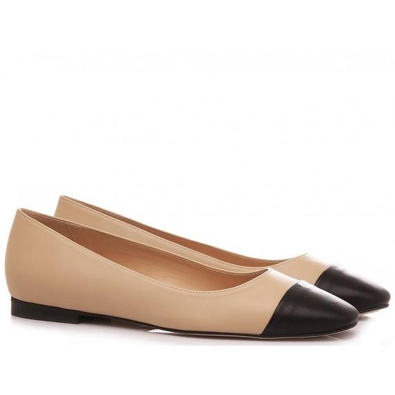 Les Autres Women's Ballerina Shoes Leather Nude-Black 270