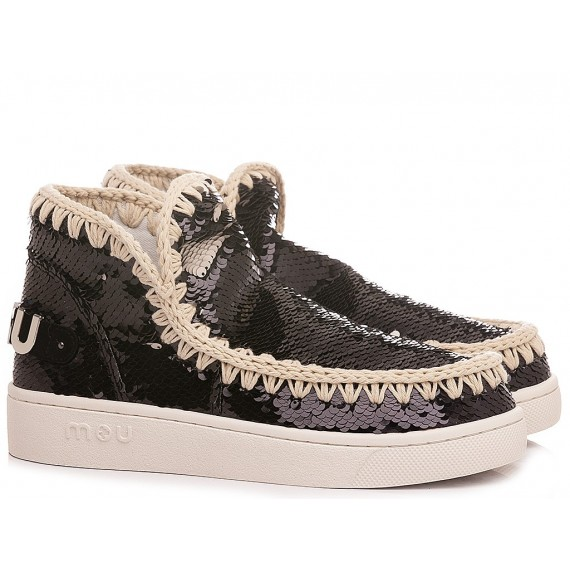MOU Women's Ankle Boots Summer Eskimo Sneaker All Sequins Big Metallic Logo Black