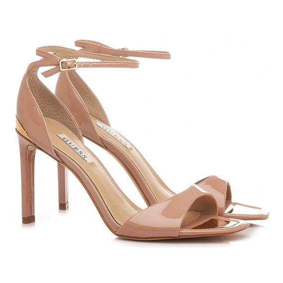 Guess Women's Sandals Leather Patent Nude