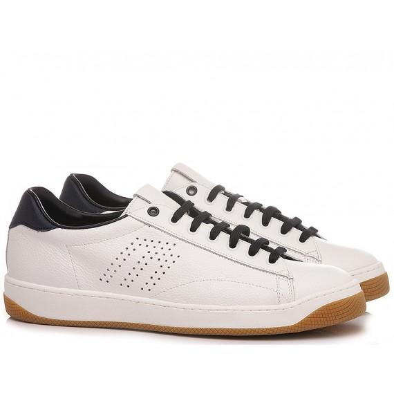 Frau Men's Sneakers Leather White-Navy 2981