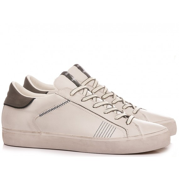 Crime London Men's Sneakers Low Top Distressed White