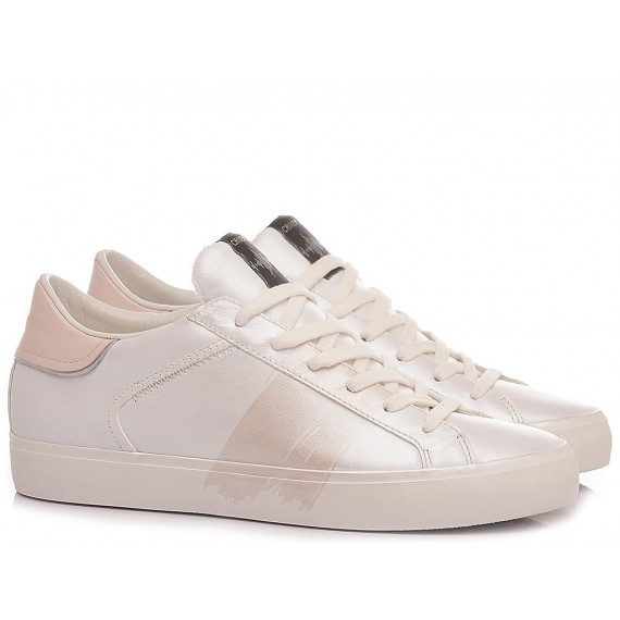 Crime London Women's Sneakers Low Top Distressed White-Pink