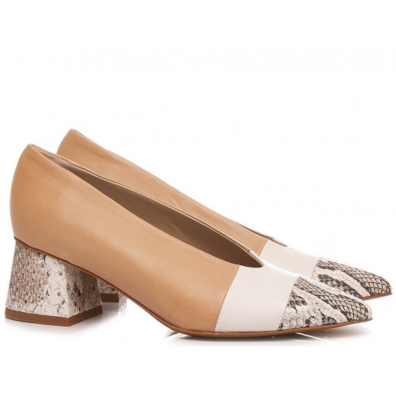 Laura Bellariva Woman's Shoes Decollètè Nude-White-Python 6720-C