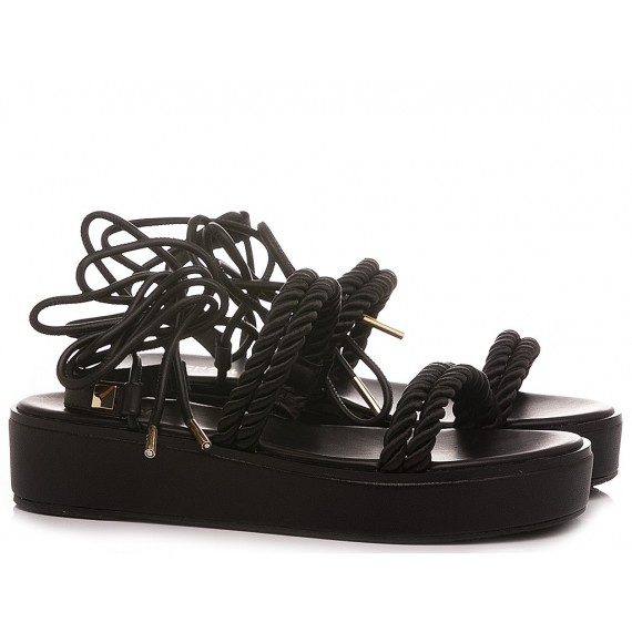 Michael Kors Women's Sandals Marina Nylon Cord Black