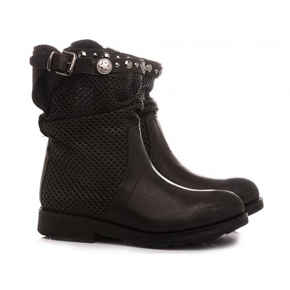 RepKo Women's Ankle Boots Black Leather BK60C