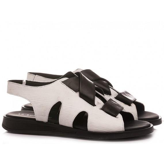 Le Bohèmien Women's Sandals Leather White-Black S47