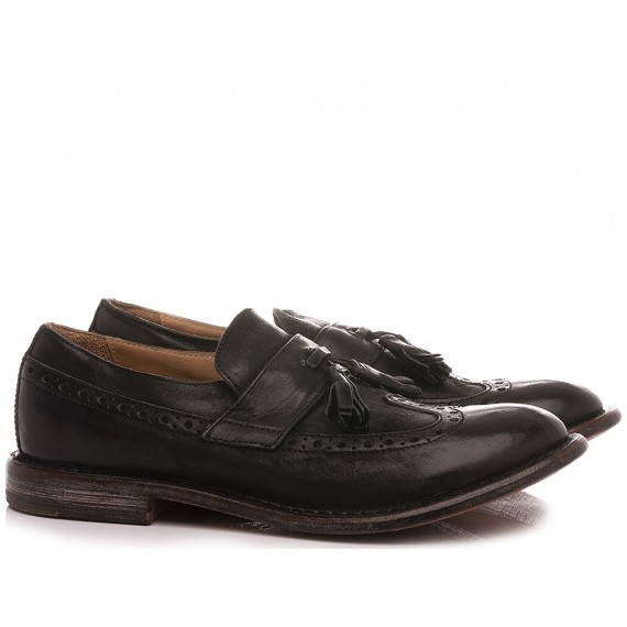 Moma Men's Shoes Loafers Leather Black 2FS133-BA
