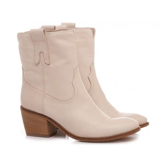 Curiositè Women's Western Ankle Boots Leather Ecru 1745