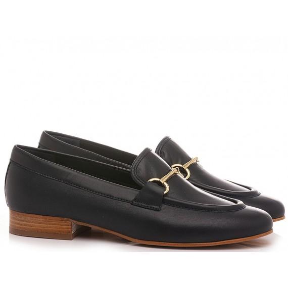 Maison Rarò Women's Shoes Loafers Leather Blue Vivian-M