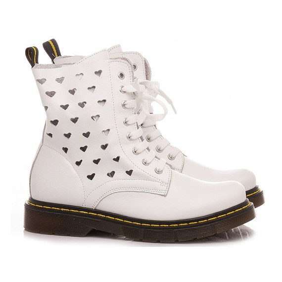 Chiara Luciani Girl's Ankle Boots E21-22 White Leather