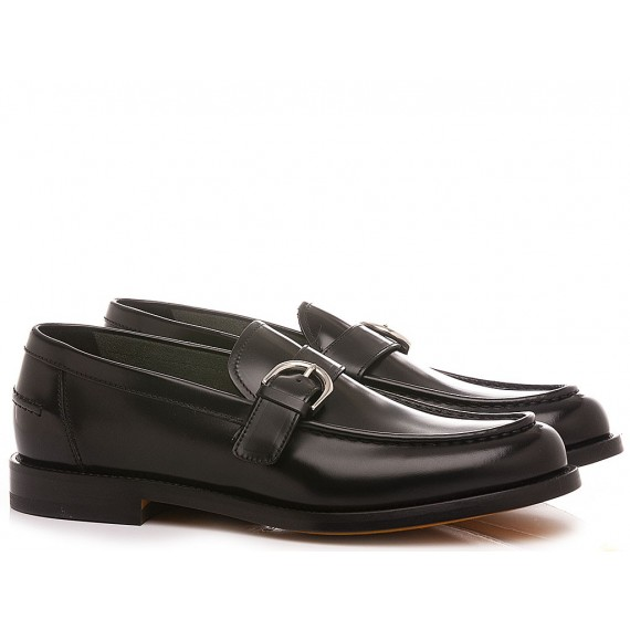 Doucal's Men's Shoes Loafers Leather Black DU2855