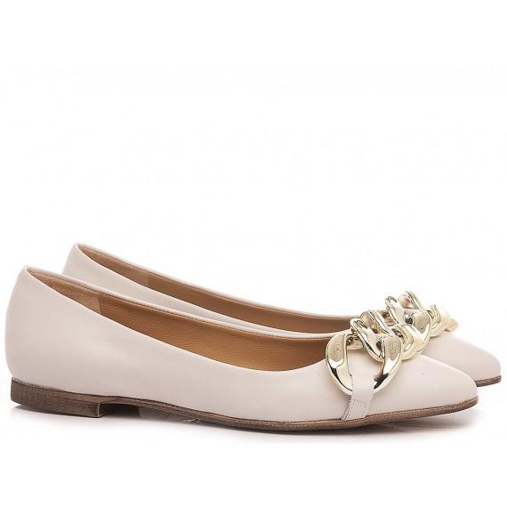 Giacko Women's Ballerina Shoes CT03 Leather Cream