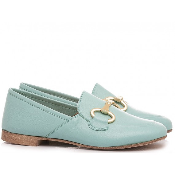Giacko Women's Loafers Leather Light Green