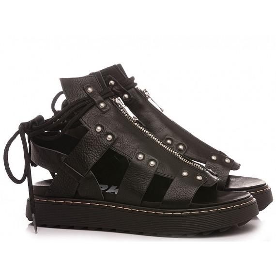 RepKo Women's Sandals Leather Black SM04